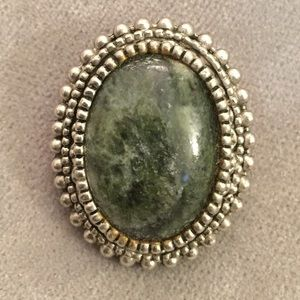 Jewelry - Oval metal with green stone pin